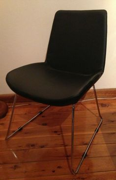 Matt Blatt FRICK CHAIR BLACK LEATHER DINING SLED LEGS MODERNISM Mid Century