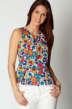 Kelly Floral Tie Neck Peplum Top at boohoo.com - $24