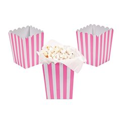 Mini Candy Pink Striped Popcorn Boxes - OrientalTrading.com. Maybe serve popcorn at the tables?? @Kandice Coulter, @Gina Harper