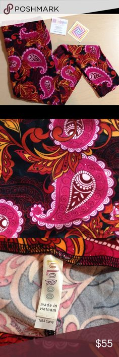 Gorgeous❗LuLaRoe TC Pink/Orange Floral Paisley! LuLaRoe Tall and Curvy Floral Paisley Leggings on Black Background! I am not a consultant. I search for your unicorn so you don't have to! I went to hundreds of pop ups for these And it took many hours to find them so please respect my price. LuLaRoe has recently started sending Leggings 2 to a pack with one tag. So some of the Leggings came with tags and bags and some didn't. However, all of my items in my boutique are new and sealed in a…