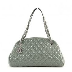 e6fa6a2cbe96 Chanel Grey Just Mademoiselle Patent Leather Bowling Bag. Bella Bag
