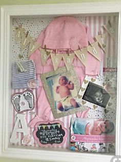 Infant Shadow Box Ideas Girl - Maras Zimmer j - Baby Diy Baby Girl Room Decor, Baby Decor, Girl Nursery, Box Room Nursery, Girl Rooms, Diy Shadow Box, Baby Shadow Boxes, Girl Shadow, Baby Memory Boxes