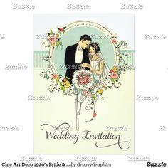 Chic Art Deco Bride and Groom Wedding Rsvp Custom Announcements Wedding Invitation Text, Illustrated Wedding Invitations, Wedding Rsvp, Wedding Art, Wedding Groom, Bride Groom, 1920s Wedding, Wedding Wishes, Dream Wedding