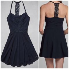 NWT Abercrombie & Fitch Women's Bailey Navy Blue Dress Knit Medium M New Skater in Clothing, Shoes & Accessories | eBay