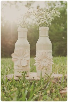 Two vintage lace wedding vases. Ivory. centerpiece. Home decor.