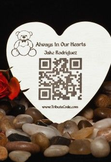 Tribute Code Plaque- Heart. Place at resting site or memorial of loved one. Scan QR Code and be directed to the online memorial page for your departed loved ones that include photos, videos, music, bio and much more.   www.tributecode.com