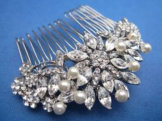 Vintage Inspired Pearls bridal hair comb,wedding hair comb,wedding hair accessories,pearl bridal comb,crystal wedding comb,bridal headpieces via Etsy