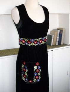 Bohemian Rhapsody  1960's Black Velvet Maxi Dress by Kinfauns, $69.00