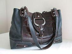 Authentic BRIGHTON Black/Brown Leather LEXIE Large SHOULDER BAG Purse Handbag