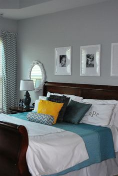 Benjamin+Moore+Stonington+Gray+:+Faith's+Place did+an+amazing+job+with+her+bedroom+remodel.+All+of+the+details+are+pulled+together+so+nicely,+from+the+gray+walls+to+the+blue,+white+and+yellow+accents+and+chevron+patterned+fabric.+