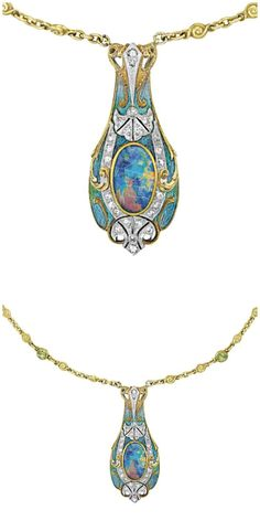- Diamonds in the Library Art Nouveau opal necklace by Tiffany and Co., with enamel and black opal pendant on a peridot and opal-studded gold chain. Opal Necklace, Opal Jewelry, Fine Jewelry, Jewlery, Geek Jewelry, Glass Jewelry, Jewelry Necklaces, Antique Jewelry, Vintage Jewelry