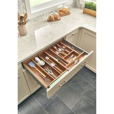 $66 · null Designed to bring organization to your cutlery drawer, This made of beautiful walnut with a UV cured. The series features simple drop-in installation and two shallow depth trim-to-fit sizes to accommodate to any full-access frameless kitchen cabinet #kitcendecor #drawers