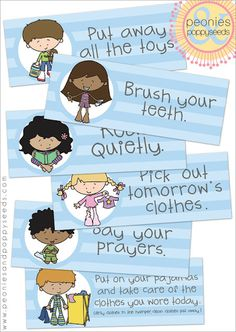 printable bedtime routine cards