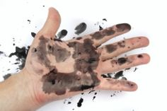 Printer ink on a hand.