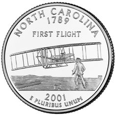 """The North Carolina Statehood Quarter depicts the dramatic scene of the Wright Brothers' """"""""First Flight,"""""""" which took place at Kitty Hawk, North Carolina. The North Carolina Statehood quarter is the in the Statehood series. North Carolina History, North Carolina Usa, Living In North Carolina, Carolina Girls, North Dakota, State Quarters, 50 States, United States, Coin Collecting"""