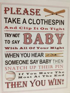Baby Shower Game: Don't Say Baby Sign RED by PinkFlamingoParties