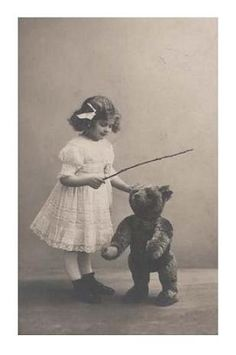Victorian girl and her trained bear