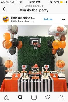 Baby Shower Ides For Boys Sports Basketball Center Pieces 58 Ideas Sports Themed Birthday Party, Basketball Birthday Parties, 13th Birthday Parties, Basketball Party Themes, Basketball Decorations, Basketball Quotes, Basketball Drills, Sports Party, Sports Basketball