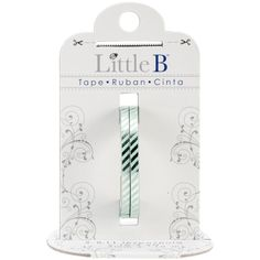 Little B: Narrow Silver and Aqua Blue Diagonal Stripe Washi Tape 2 Rolls; 3mm Wide, 20 Meters Total