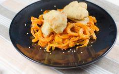 Süßkartoffel-Pasta mit gebackenem Blumenkohl