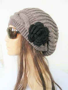 Items similar to Slouchy Hat With Flower Winter Taupe Slouchy Beanie Women hat Winter hat - Knit Hat by Ebruk Winter Women Accessories Fashion Gift on Etsy Slouch Hat Knit Pattern, Slouchy Beanie, Warm Winter Hats, Winter Hats For Women, Wool Hat Outfit, Knitted Hats, Crochet Hats, Knit Crochet, Cap Girl
