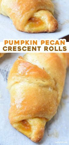 Pumpkin Pecan Crescent Rolls are crescent rolls filled with pumpkin puree, chopped pecans, and brown sugar. Delicious breakfast, snack, holiday side, or Fall treat! Thanksgiving Recipes, Fall Recipes, Sweet Recipes, Holiday Recipes, Crescent Roll Recipes, Crescent Rolls, Breakfast Recipes, Brunch Recipes, Dessert Recipes