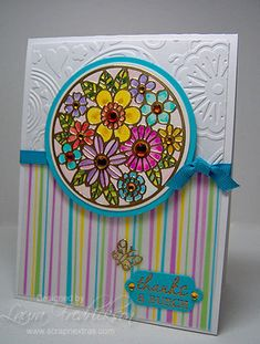 Using Class a Peel stickers gives your focal image an embossed look (colored with Twinkling Elizabeth Craft Designs, Making Greeting Cards, Greeting Cards Handmade, E Craft, Thanks Card, Glitter Cards, Card Making Techniques, Pretty Cards, Vintage Cards