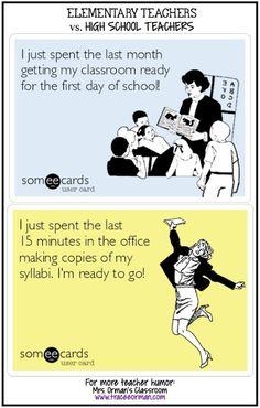 Elementary vs. High School Teachers... round 2