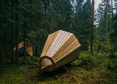 estonian students amplify forest ambiance with megaphone-like library spaces