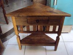 Aparador de canto, madeira maciça com gaveta, lindo