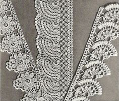 1941 Exquisite Edgings Vintage Crochet Pattern by knittedcouture Lovely crochet pattern for these exquisite edgings using USA Steel Crochet Hook sizes 9 - 101 Crochet Edgings by curbee on Etsy I'm continuing my steady research into vintage crochet history Crochet Lace Edging, Crochet Borders, Irish Crochet, Diy Crochet, Crochet Flowers, Crochet Stitches, Crochet Edgings, Blanket Crochet, Thread Crochet