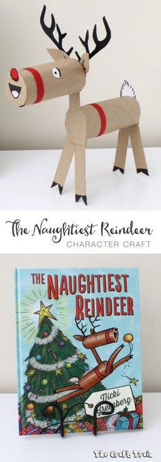 Christmas Crafts : Illustration Description The Naughtiest Reindeer craft, based on The Naughtiest Reindeer book Christmas Activities, Christmas Crafts For Kids, Book Crafts, Diy Christmas Gifts, Craft Activities, Christmas Projects, Holiday Crafts, Christmas Decorations, Christmas Ornaments