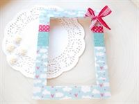 DIY #Blue & #White decorated frame, made out of #Washi paper-tape