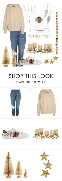 """Winter Fun!"" by razzledazzlevip ❤ liked on Polyvore featuring Topshop, Yeezy by Kanye West and Gucci"