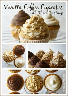 Vanilla Coffee Cupcakes with 3 Frostings