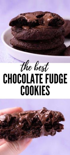 Soft and chewy Chocolate Fudge Cookies that are loaded with gooey chocolate chunks. An easy one bowl recipe that makes the best chocolate cookies. Chocolate Fudge Cookies, Chocolate Milkshake, Best Chocolate, Chocolate Desserts, Vegan Desserts, Cocoa Cookies, Roll Cookies, Brownie Cookies, Healthy Chocolate