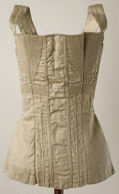 Corset Date: 1825–50 Culture: American or European Medium: cotton, metal Dimensions: Length at CB: 13 1/2 in. (34.3 cm) Credit Line: Purchase, Irene Lewisohn and Alice L. Crowley Bequests, 1985 Accession Number: 1985.153