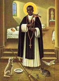 St. Martin de Porres - San Martín de Porres Velázquez O.P. o San Martín de Porras Velázquez O.P. (Lima, 9 de diciembre de 1579 – 3 de noviembre de 1639).Festividad3 de Noviembre. Atributos: Escoba, pan, gato, perro, ratón, crucifijo y paloma.