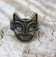 Vintage Worn Gold Demon Mask Ring by Gener8tionsCre8tions on Etsy, $45.00