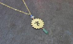 Tanzanite Tourmaline  brass quartz handmade jewelry / yoga jewelry  / Vishuddha Throat Chakra blue stone healing energy necklace
