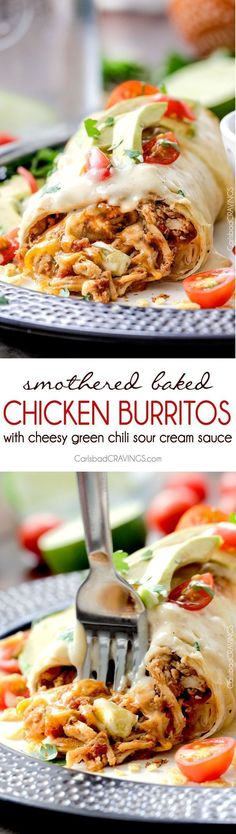 Smothered Baked Chicken Burritos restaurant delicious without all the calories! made super easy by stuffing with the BEST slow cooker Mexican chicken and then baked to golden perfection and smothered in most incredible cheesy green chili sour cream sauce. Mexican Dishes, Mexican Food Recipes, Dinner Recipes, Mexican Easy, Mexican Night, Mexican Entrees, Vegetarian Mexican, Vegetarian Menu, Mexican Desserts