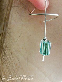 Sterling Silver wrap earrings with Teal Blue Furnace Glass Beads - $21.97