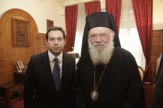 Στην τελετή κοπής Βασιλόπιττας της Ιεράς Αρχιεπισκοπής Αθηνών παρευρέθηκε ο Νότης Μηταράκης
