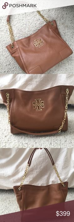 Tory Burch Britten Small Slouchy Tote in Bark authentic purchased from the tory burch website. britten small slouchy bag. worn  for a couple months. gorgeous buttery leather in the color bark. gold color hardware. no tears or major flaws. minor signs of wear such as some wear on the bottom corner of the bag and the bag being more slouchy and less structured. comes from a smoke free and pet free home. large dust bag included!!! perfect daily bag. reasonable offers only. Tory Burch Bags Totes