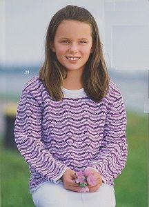 Vlnkovaný dětský pulovr | RUČNÍ PLETENÍ - NÁVODY ZDARMA