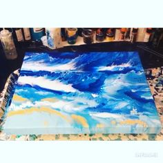 Fluid Acrylic Painting Video - Watch - Ideas of Watch - Creating a inspired painting using a blow dryer colors used are white Thalo blue bright aqua green turquoise blue ocean green and gold. Watch the full video! Flow Painting, Pour Painting, Diy Painting, Acrylic Painting Techniques, Painting Videos, Acrylic Pouring Art, Acrylic Art, Fluid Acrylics, Watercolor Art