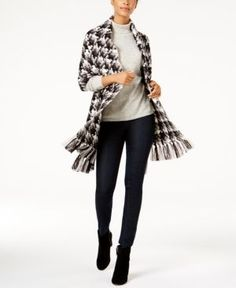 Calvin Klein Knotted-Fringe Blanket Wrap & Scarf in One -