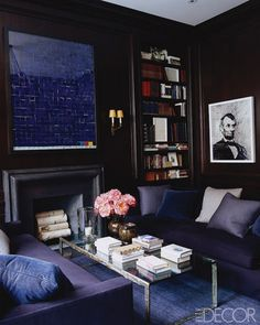 navy blue living room - 2014 Home Trend - Painted Moldings - Floor to ceiling Color