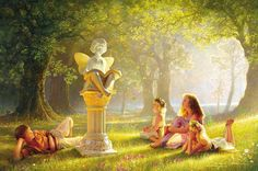 Fairy Tales Metal Print by Greg Olsen. All metal prints are professionally printed, packaged, and shipped within 3 - 4 business days and delivered ready-to-hang on your wall. Choose from multiple sizes and mounting options. Greg Olsen Art, Lds Art, Caillou, Fairytale Art, Hans Christian, Albert Einstein, Thing 1, Grimm, Fine Art America