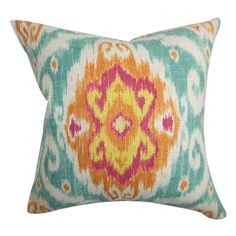Ikat damask pillow for girls sitting room